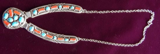 Turquoise and Coral Silver Necklace 1